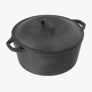 3d cast iron pot