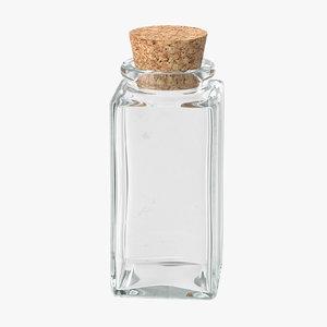 3d model glass jar cork stopper