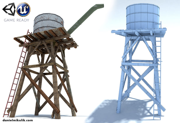 old wild west water tank 3d 3ds