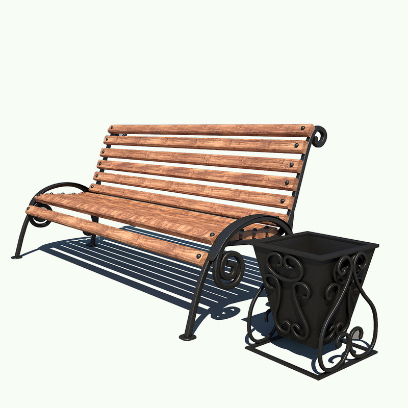 street bench wood 3d model