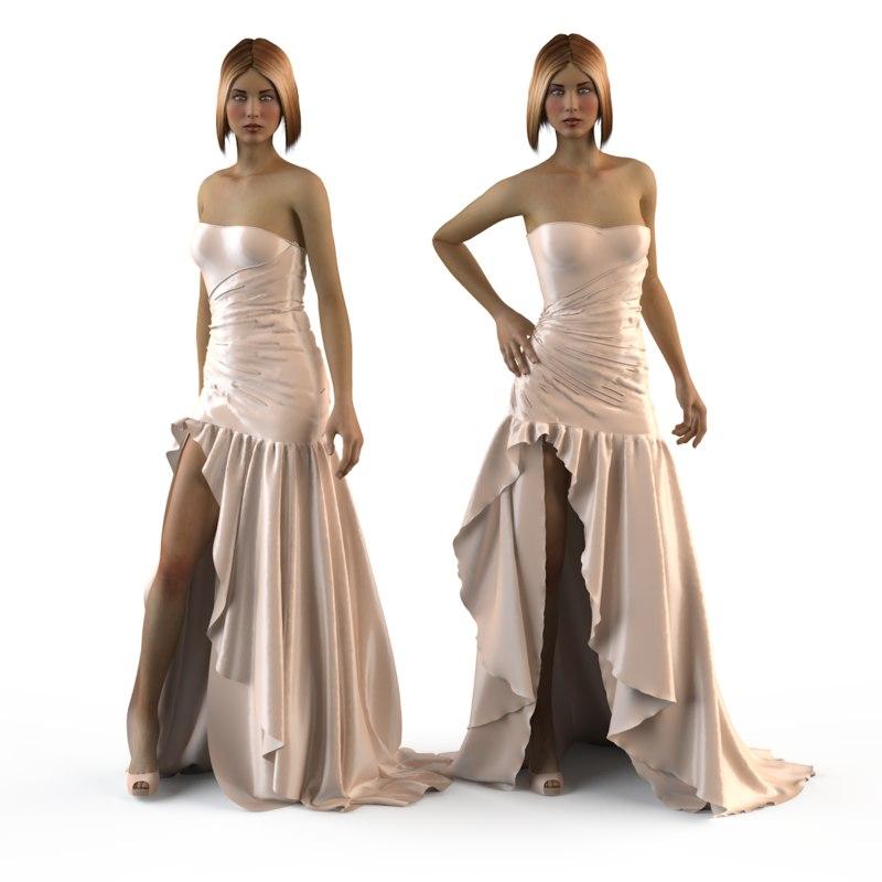 evening wedding dress 3d obj