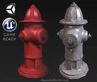 3d red hydrant - pbr