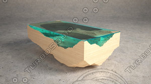 coffee table abyss glass 3d c4d