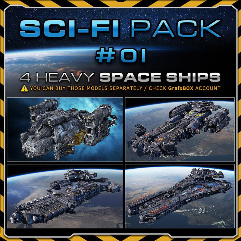 scifi frigate spacecraft 3d max