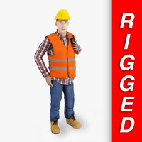 construction worker rigged 3d fbx
