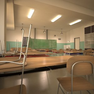 school classroom blackboard 3d model