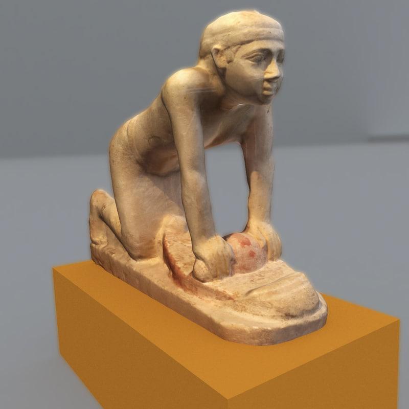 3d model of statue egyptian historical