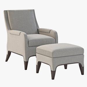 giles chair ottoman 3d max