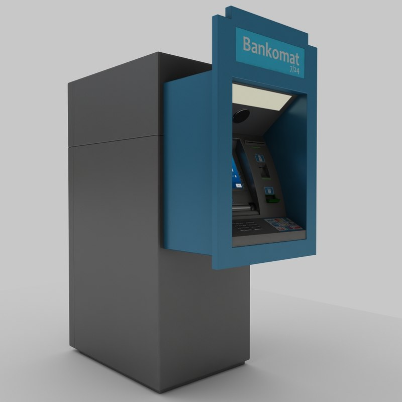 3d model wall type atm machine