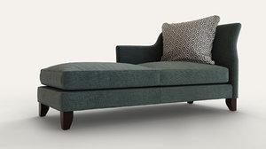3d baker furniture sensei chaise lounge model