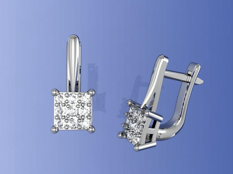 3d model gems earring