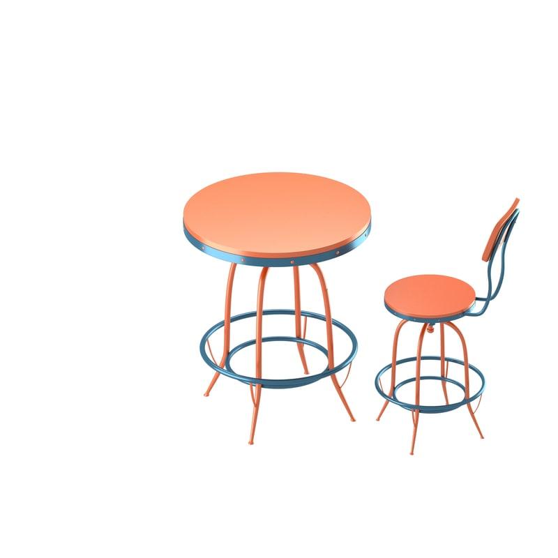 bar chair table set 3d model