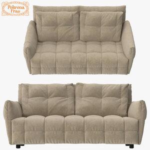3d max poltrona frau duvet sofa