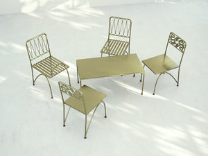 3d metal chairs table