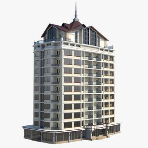 12 storey house 3d obj