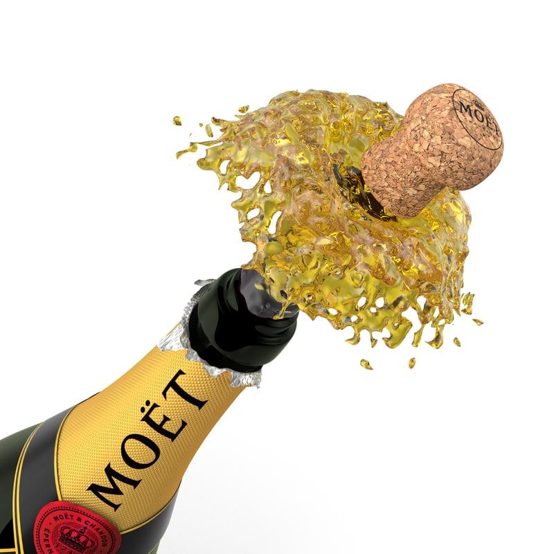 champagne cork pop 3d model