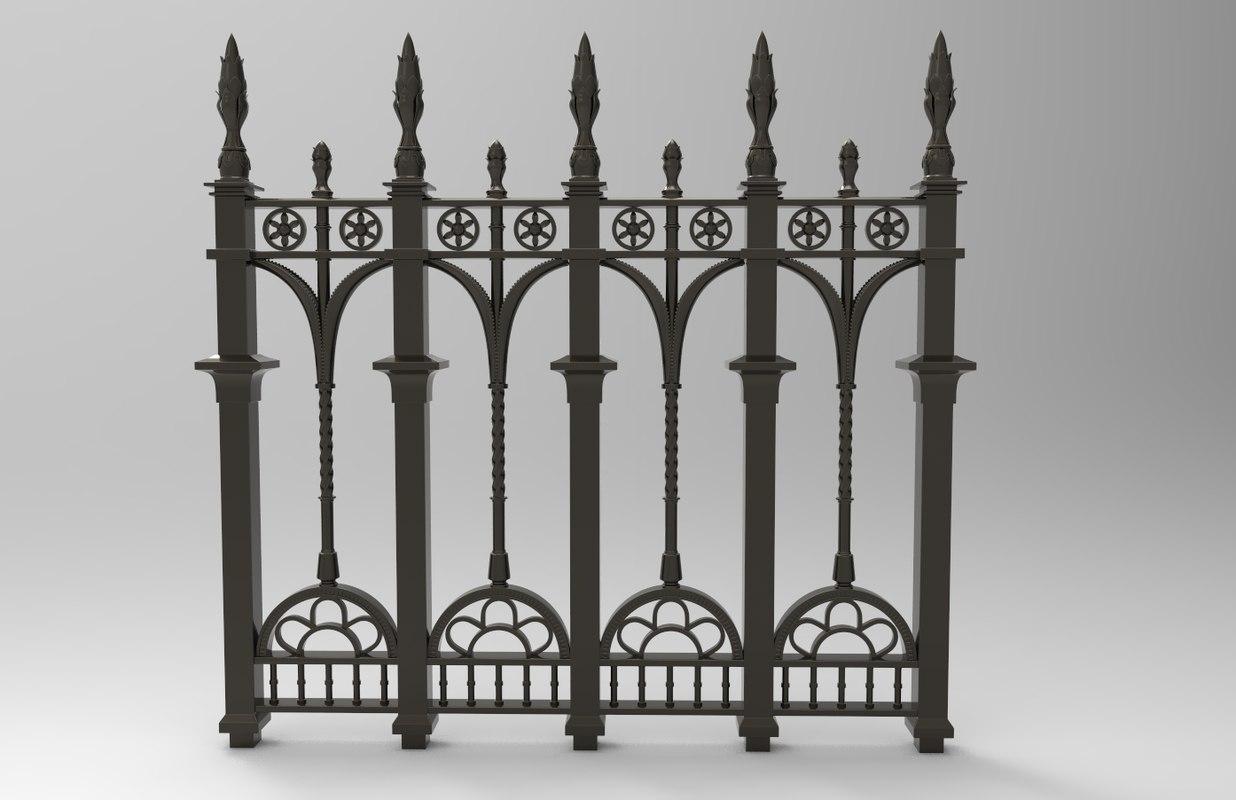 3d model ornate fence