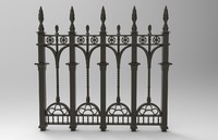 3d model ornate fence