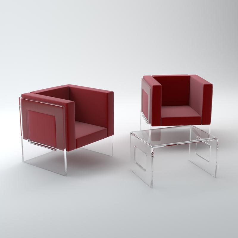 3d model acrylic set coffee table