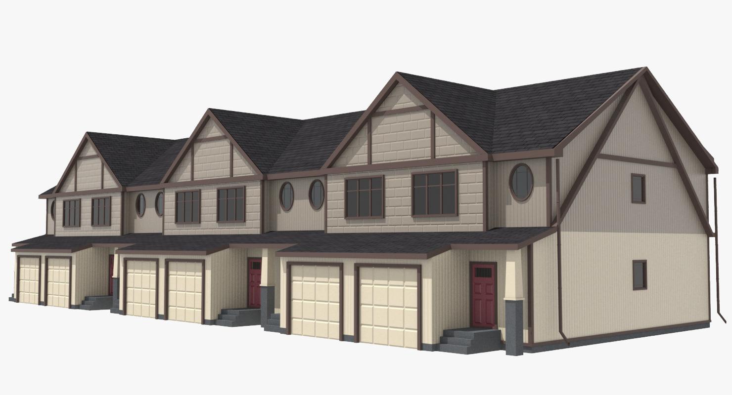 townhouse urban street 3d model