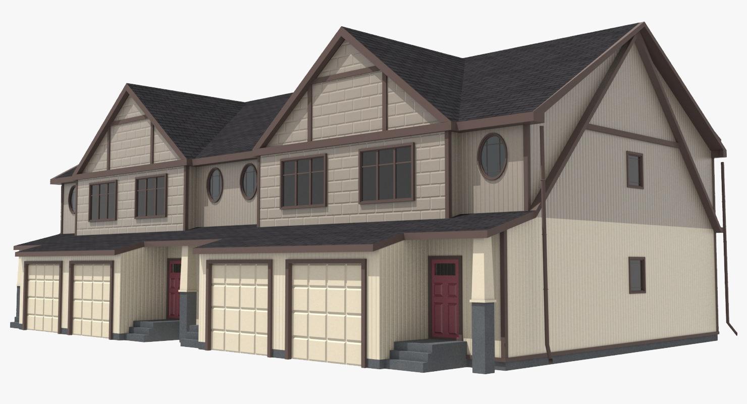 3d townhouse urban street