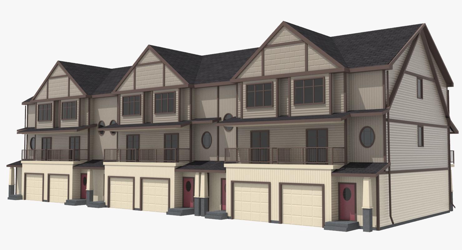 3d model townhouse urban street