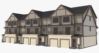 3d model townhouse urban street