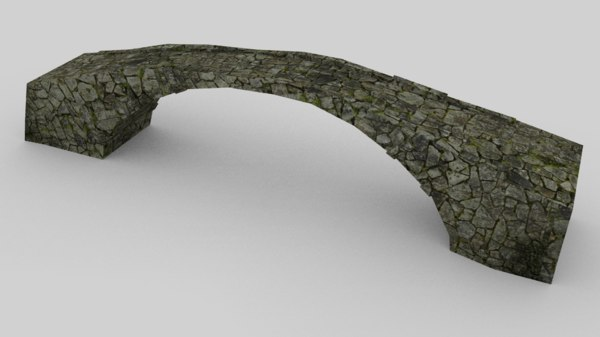 3d model of old stone bridge