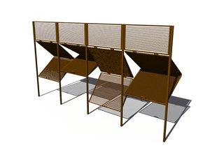 sliding louvre screens 3d model