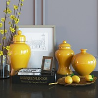 Decoration set yellow vases