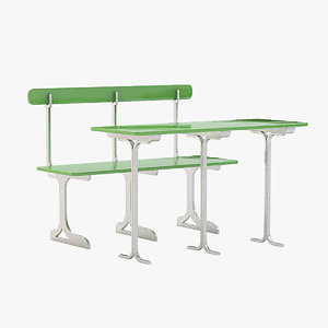 cafe seating bench 3ds