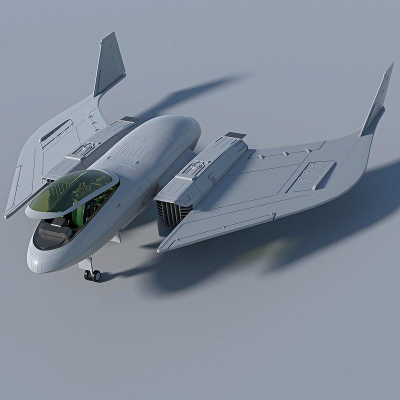 Futuristic Aircraft 3d Model