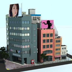 3d lwo japan city block
