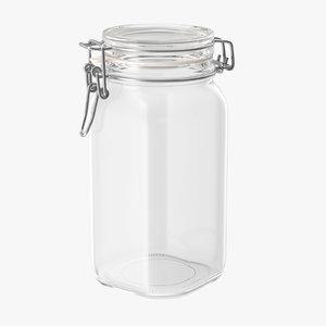 3d model hinged glass kitchen jar
