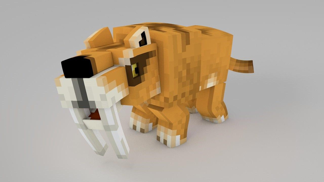 3d minecraft tiger rig model