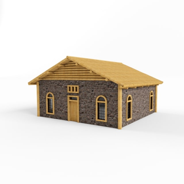 3d wooden stone house