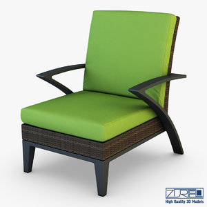 3d model rexus armchair brown
