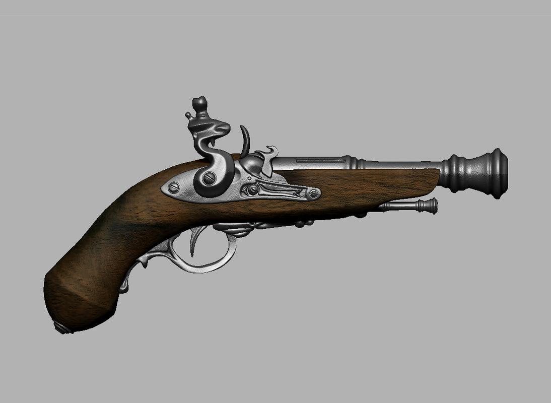 3d model pistol early 18th century