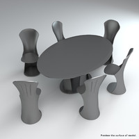 3d set acrylic chairs table