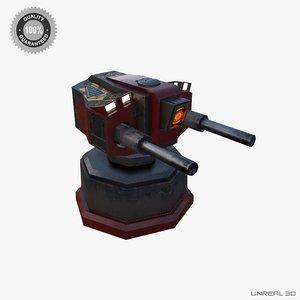 sci-fi turret mobile 3d model