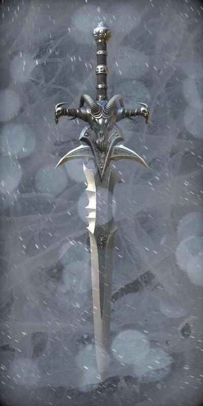 free lich king sword frostmourne 3d model