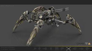 3d arachnid scifi drone