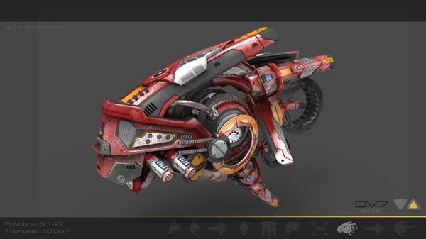 red anime manga drone 3d model