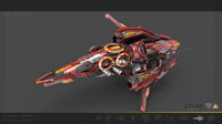 3d model heavy red manga drone
