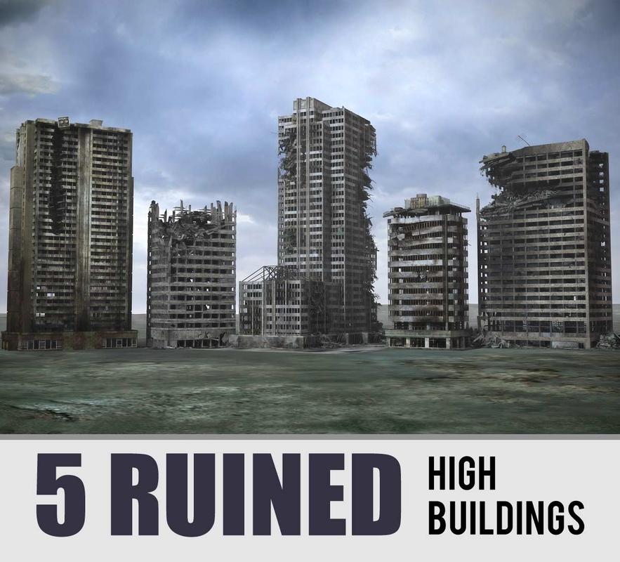 3d model destroyed buildings ruined skyscrapers