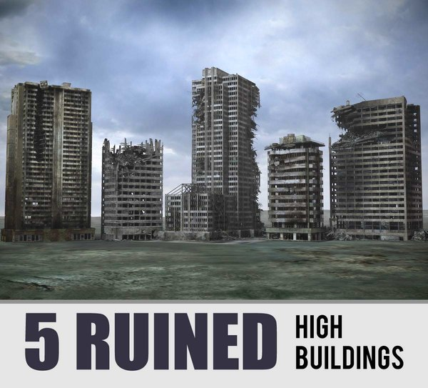 3d model destroyed buildings ruined skyscrapers