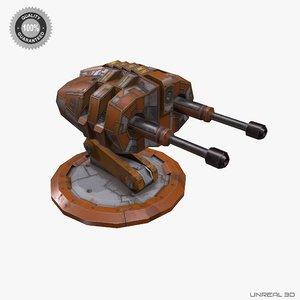 sci-fi turret gun low-poly 3d obj