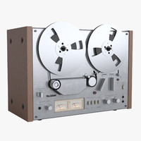 photoreal open reel tape recorder 3d obj