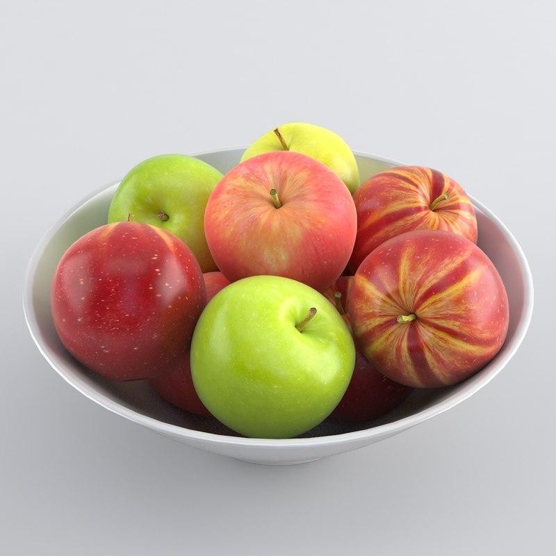 3d apple bowl model