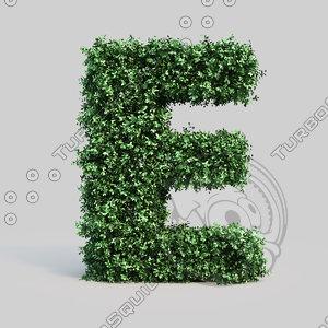 alphabet e buxus 3d max
